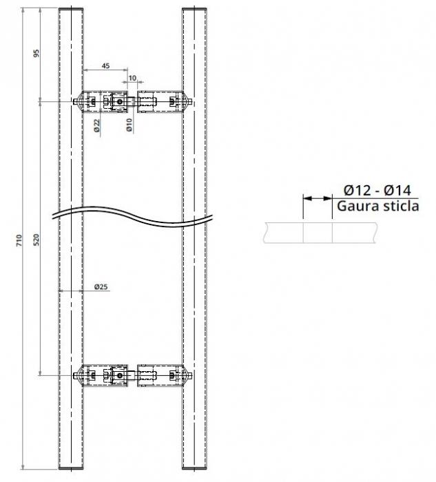 Maner rotund, interax 520 mm, L=700 mm 1