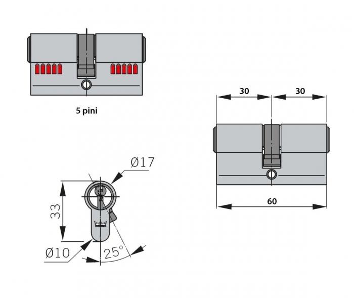 Cilindru broasca Dorma usa sticla 8-10 mm 3
