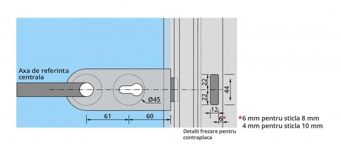 Set Dorma Studio Rondo broasca pentru cilindru + 2 balamale usa sticla 8 mm 2
