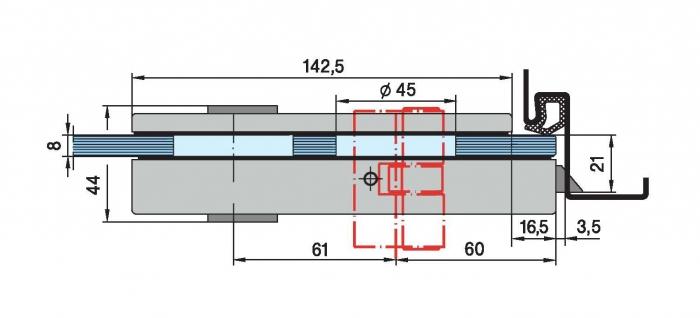 Set Dorma Studio Rondo broasca pentru cilindru + 2 balamale usa sticla 8 mm 3