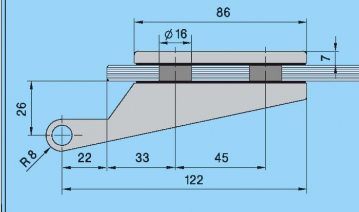 Set Dorma Studio Rondo broasca pentru cilindru + 2 balamale usa sticla 8 mm 6