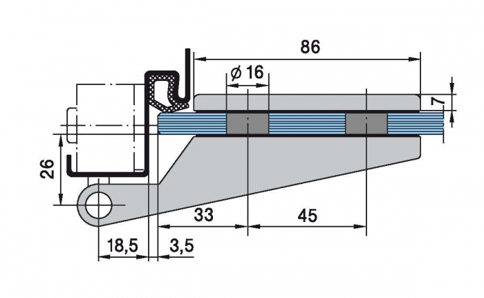 Set Dorma Studio Rondo broasca pentru cilindru + 2 balamale usa sticla 8 mm 7