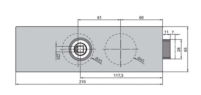 Set Dorma Arcos Studio broasca fara incuiere + 2 balamale usa sticla 8 mm 1