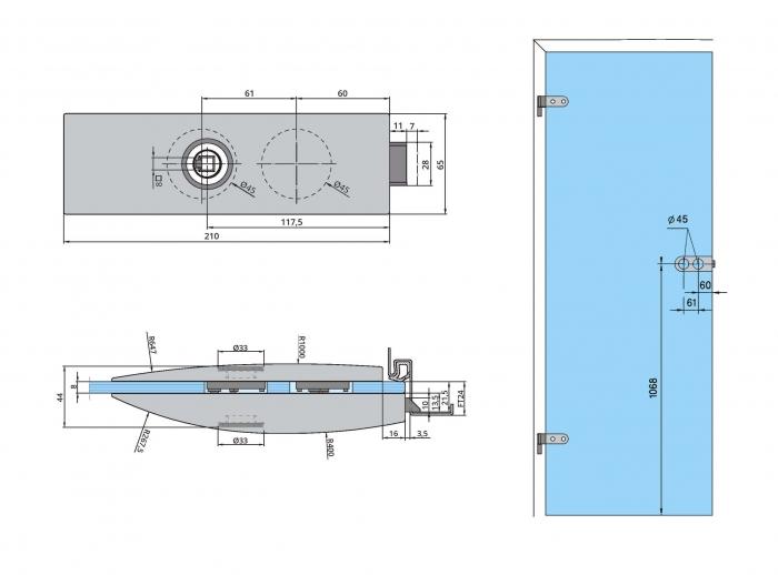 Set Dorma Arcos Studio broasca fara incuiere + 2 balamale usa sticla 8 mm 3