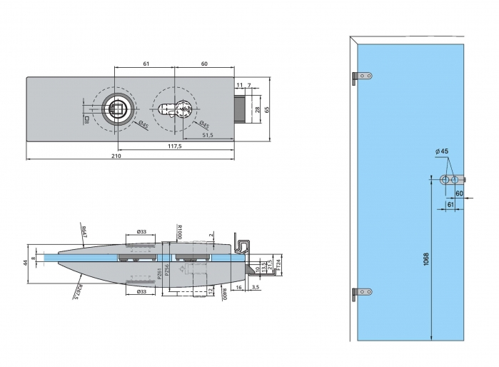 Set Dorma Arcos Studio broasca pentru cilindru + 2 balamale usa sticla 8 mm 1