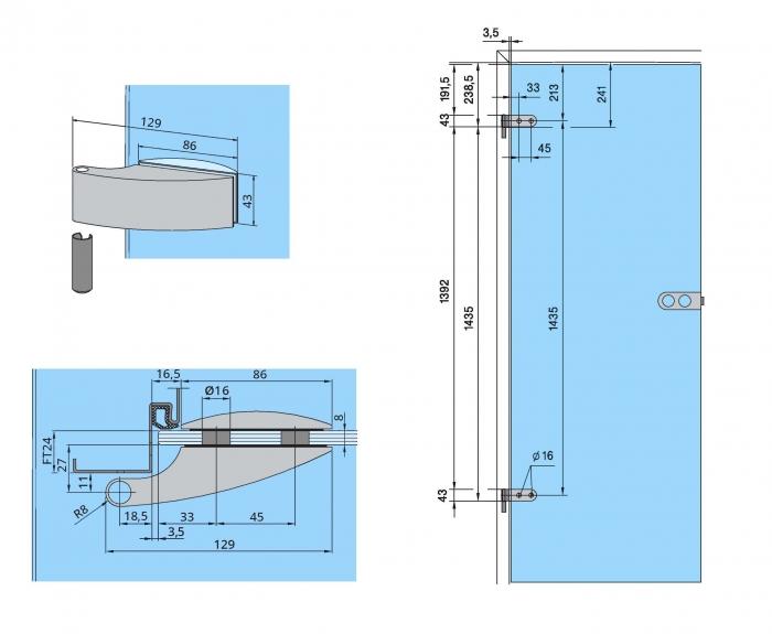 Set Dorma Arcos Studio broasca pentru cilindru + 2 balamale usa sticla 8 mm 2