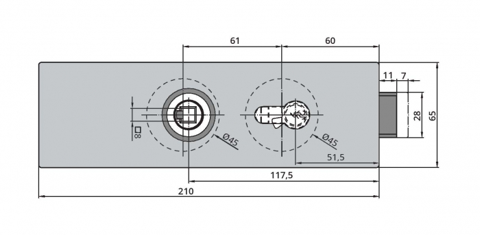 Broasca Dorma Arcos Studio pentru cilindru usa sticla 8-10 mm 2