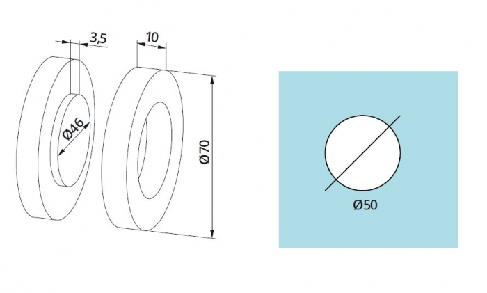 Maner scoica Dorma, Ø70 mm, sticla 8-12 mm 1