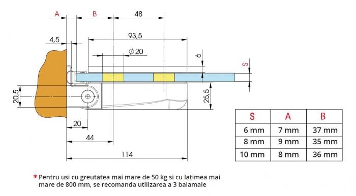 Balama hidraulica cabina dus perete/sticla Bilobina 1