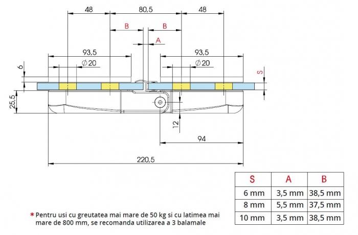 Balama hidraulica cabina dus sticla/sticla Bilobina 1
