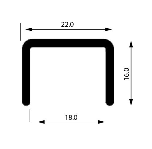 Profil U mana curenta, sectiune 22x16 mm 0