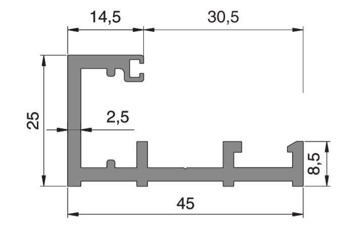 Profil parte fixa Alexa AT45 sticla 10-12 mm 1