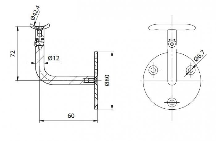 Suport perete 60x72 mm reglabil mana curenta rotunda Ø42,4 mm 1