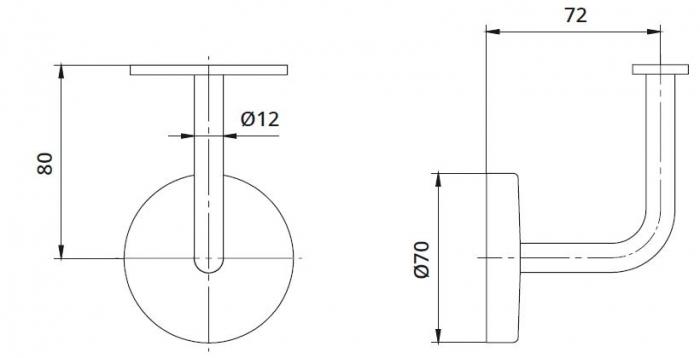 Suport perete 72x80 mm mana curenta patrata 40x40 mm 1