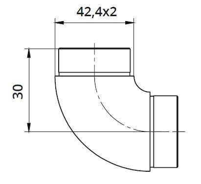 Imbinare fixa 90° mana curenta rotunda Ø42,4 mm 1