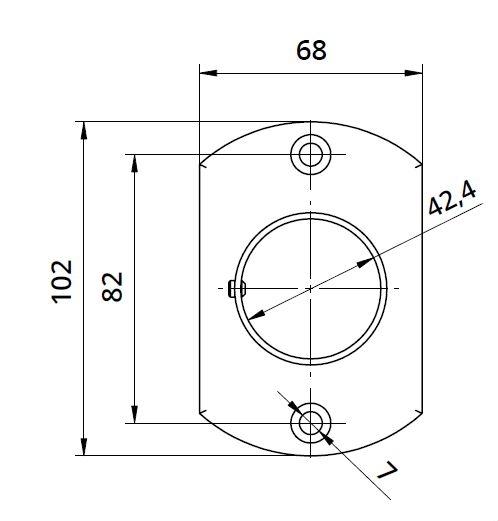 Flansa ovala fixare perete mana curenta rotunda Ø42,4 mm 1