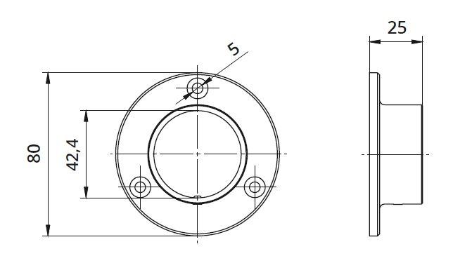 Flansa rotunda fixare perete mana curenta rotunda Ø42,4 mm 1
