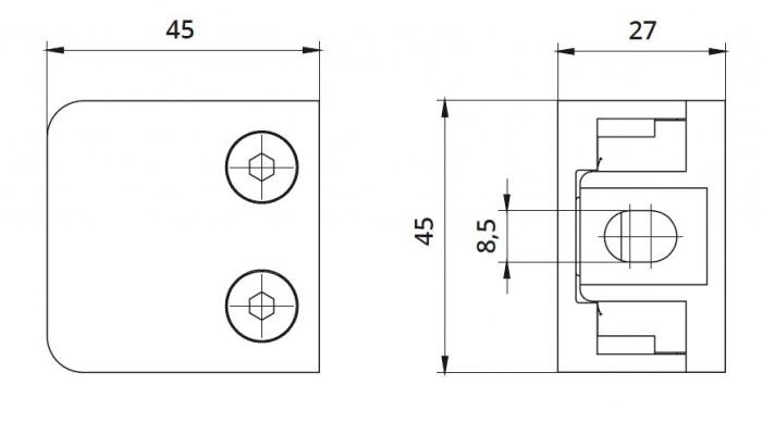 Clema MOD 21 fixare pe drept pentru montant balustrada sticla 6-10,76 mm 1