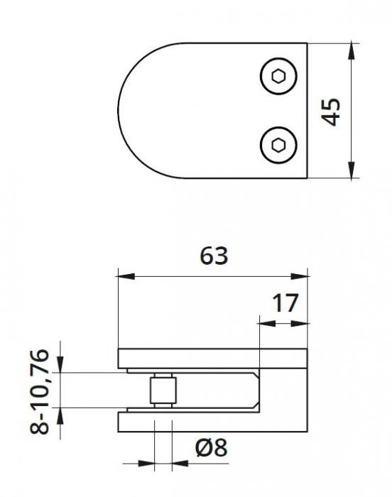 Clema MOD 22 fixare pe drept pentru montant balustrada sticla 8-10,76 mm 1