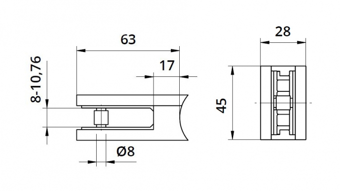 Clema MOD 22 fixare pe rotund pentru montant balustrada sticla 8-10,76 mm 1