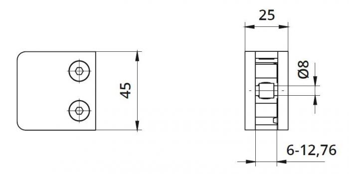 Clema MOD 230P fixare pe drept pentru montant balustrada sticla 6,76-10,76 1