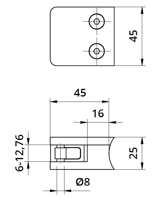 Clema MOD 230P fixare pe rotund pentru montant balustrada sticla 6,76-10,76 mm 1