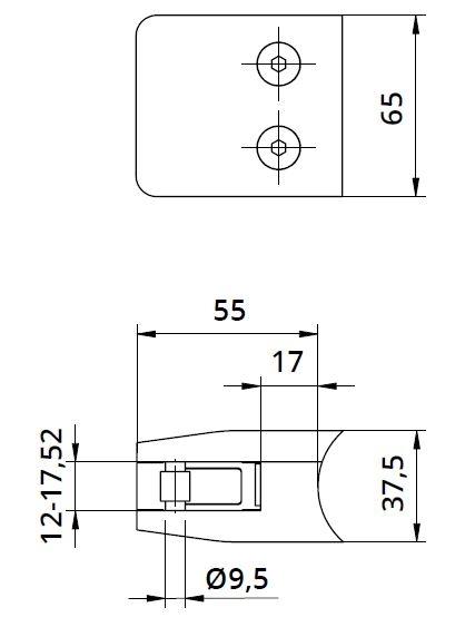 Clema MOD 24 fixare pe rotund pentru montant balustrada sticla 12-17,52 mm 1