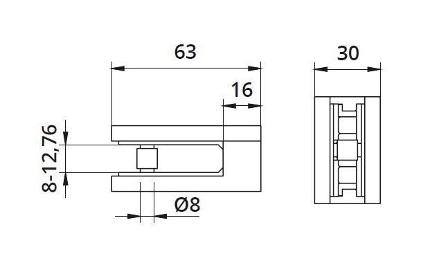 Clema MOD 25 fixare pe drept pentru montant balustrada sticla 8-12,76 mm 1