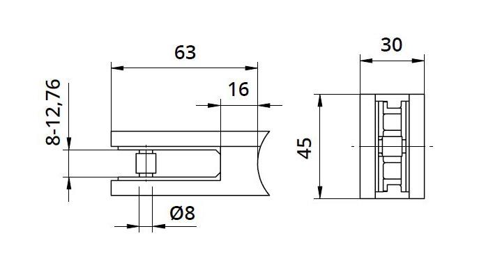 Clema MOD 25 fixare pe rotund pentru montant balustrada sticla 8-12,76 mm 1