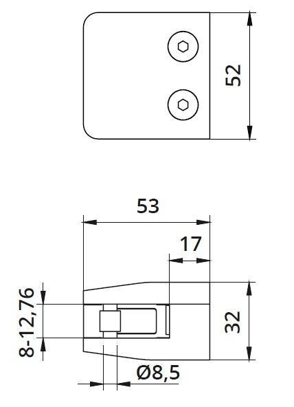 Clema MOD 26 fixare pe drept pentru montant balustrada sticla 8-12,76 mm [1]