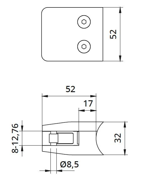 Clema MOD 26 fixare pe rotund pentru montant balustrada sticla 8-12,76 mm 1