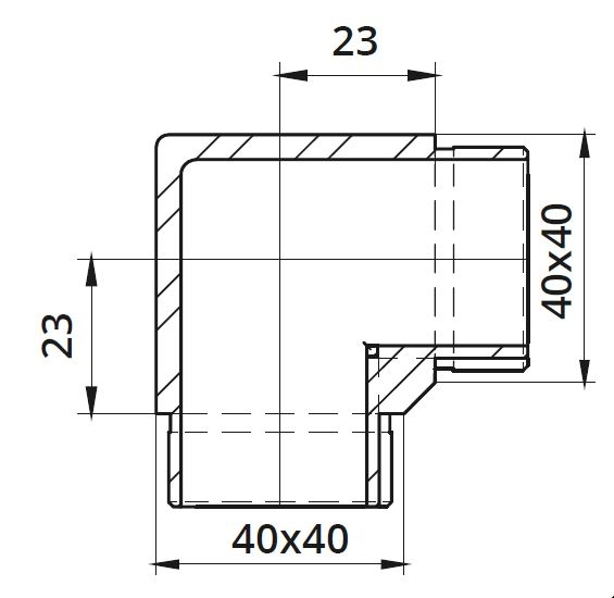 Imbinare 90° mana curenta patrata 40x40 mm 1