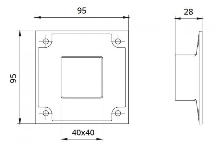 Flansa fixare perete mana curenta patrata 40x40 mm 1