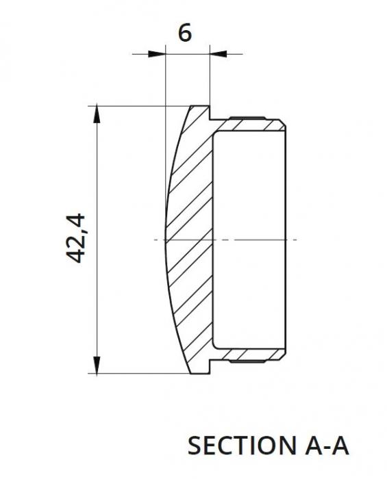 Capac capat semirotund mana curenta rotunda Ø42,4 mm 1