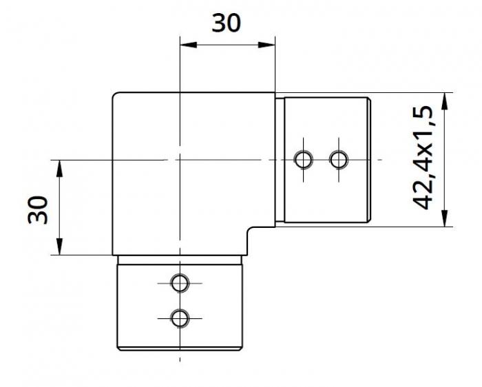 Imbinare orizontala 90° mana curenta profilata Ø42,4 mm 1