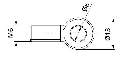Conector Ø6/13xM6 mm piesa capat fixare cablu pentru montant balustrada 1
