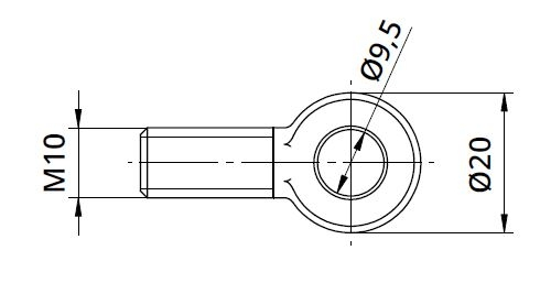 Conector Ø9,5/20xM10 mm piesa capat fixare cablu pentru montant balustrada 1