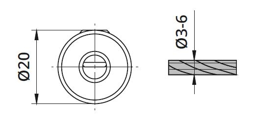 Piesa blocare cablu Ø3-6 mm pentru montant balustrada 1