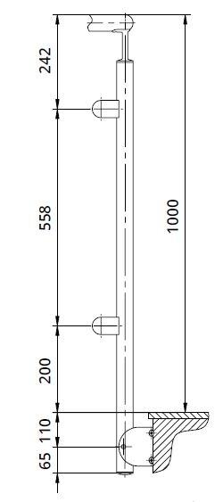 Montant colt interior rotund echipat pentru sticla fixare pe laterala [1]