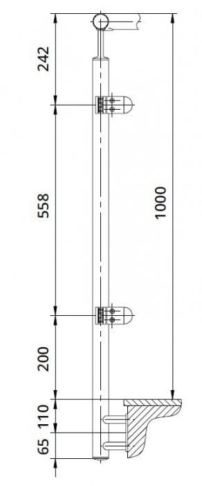 Montant colt exterior rotund echipat pentru sticla fixare pe laterala [1]