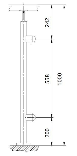 Montant de capat rotund echipat pentru sticla fixare pe pardoseala [1]