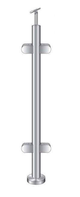Montant intermediar rotund echipat pentru sticla fixare pe pardoseala 0