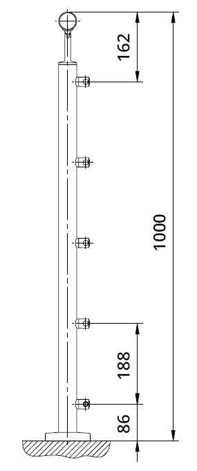 Montant rotund echipat pentru cablu fixare pe pardoseala 1