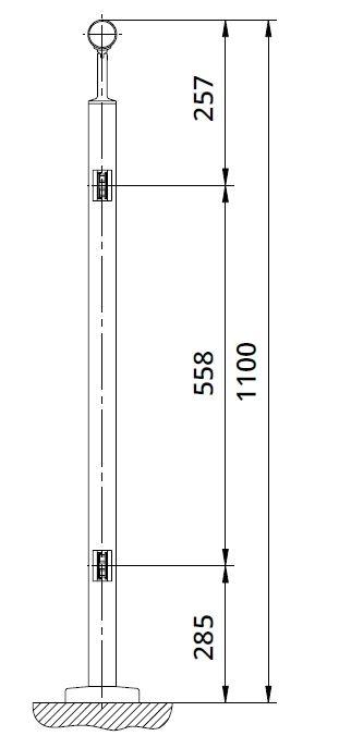 Montant intermediar rotund echipat pentru sticla fixare pe treapta scara 1