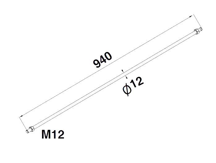 Tija Ø12xM12 mm, L=940 mm [1]