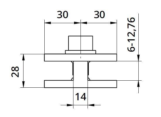 Clema dubla 60x60x28 mm fixare pe teava rotunda/rectangulara 1