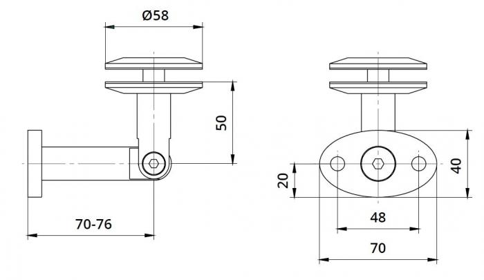 Conector copertina inferior perete/sticla 8-17,52 mm 1