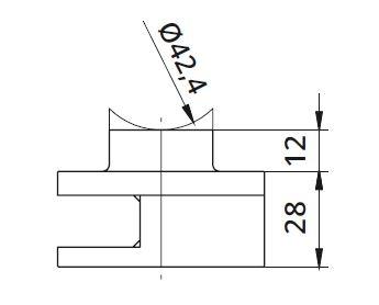 Clema simpla Ø60x28 mm fixare pe teava rectangulara [1]
