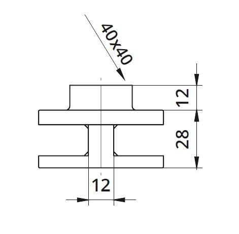 Clema dubla Ø60x28 mm fixare pe teava rectangulara 1