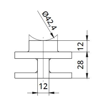 Clema dubla Ø60x28 mm fixare pe teava rotunda 1